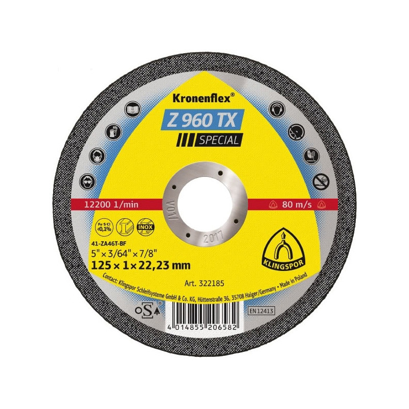Rezna ploča KLINGSPOR Z 960 TX SPECIAL  115X1x22,23mm  za ČELIK i INOX