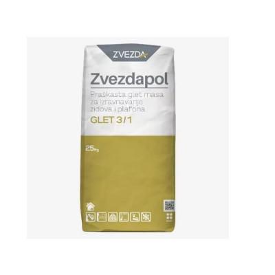 ZVEZDAPOL Praškasta glet masa za izravnavanje zidova i plafona GLET 3/1 25kg